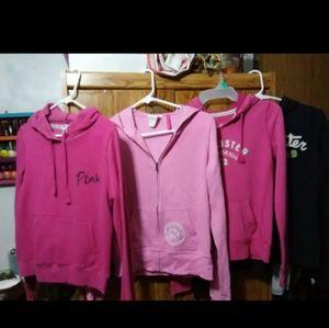 4 hoodies by Pink & Hollister